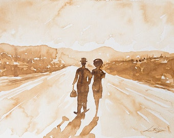Original Watercolor | Homage to Charlie Chaplin | Collection art | RossoVenezia