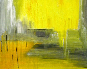 Yellow Grey Abstract Painting Abstract Canvas Art Original Painting Iceland Abstract Painting Gouache On Canvas Contemporary Art Gray