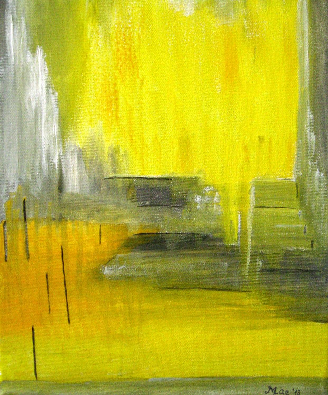 Abstrait gris jaune peinture toile abstraite art peinture - Peinture jaune et gris ...