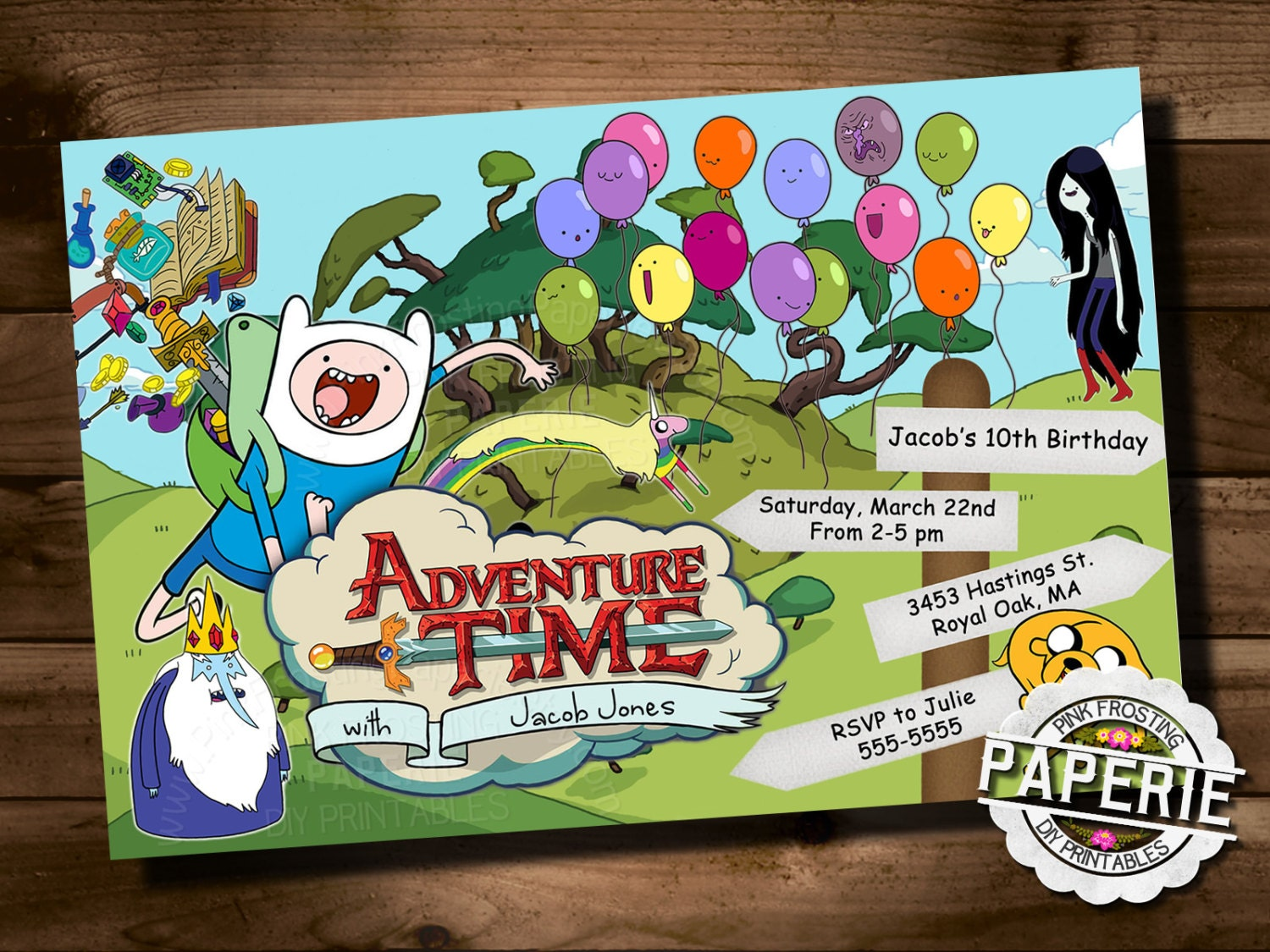 ADVENTURE TIME Birthday Party Invitaiton Kids Jake and