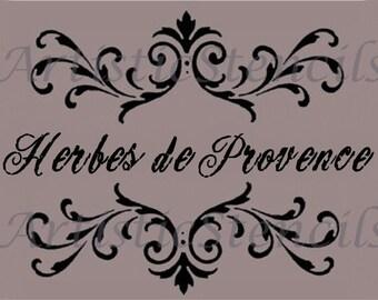 STENCIL Herbes of Provence Scroll Brackets  10x13