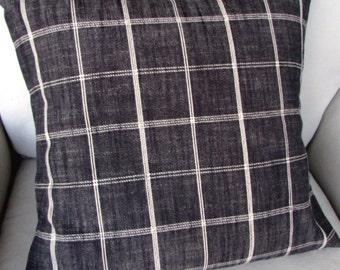 Rustic Woven charcoal black plaid pillow cover 13x26 18x18 20x20 22x22 24x24 26x26