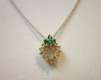 Heart Shaped Emerald & Diamond White Gold Necklace. May Birthstone.