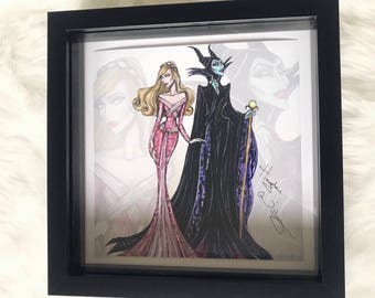 Princess/villian large print - Aurora and Maleficent sleeping beauty - frame included