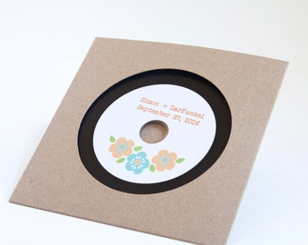 Floral Vinyl styled blank CDs with custom labels and kraft sleeves - SAMPLE