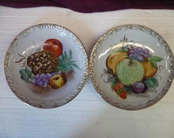 Set of Hand Painted Fruit Ceramic Plates