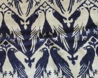 "Love Birds Fine Wool Mohair Fabric -Navy Beige Designer Fabric - DIY Scarf, Cushion Cover, Fashion Home Decor 19""x36"" / 48 cm x 91.4 cm"