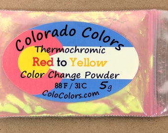 Thermochromic Color Change Powder Pigment 5 Grams Red to Yellow 88F