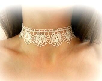 Collana girocollo pizzo avorio collana fiori pizzo bianco gioielli sposa girocollo sposa regalo per lei collana pizzo floreale ricamato