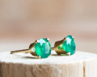 Emerald Green Onyx Stud Earrings