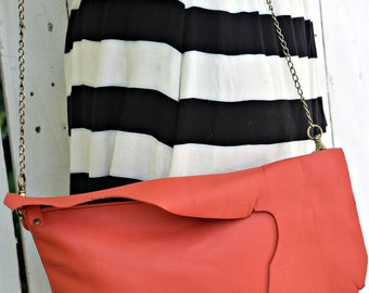 Reddish/Orange Leather Purse, Clutch, Crossbody