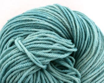 Hand Dyed Aran weight mini Empire Rambouillet Wool 213 yds 4oz Robin's Egg