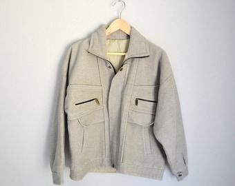 Vintage 80s Heather Tan Disney Cast Member Wool Blend Thick Jacket // mens womens medium large