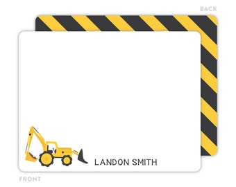 Construction Note Cards - Personalized Flat Note Cards - Construction Notecards - Thank You Cards - Kids Stationery