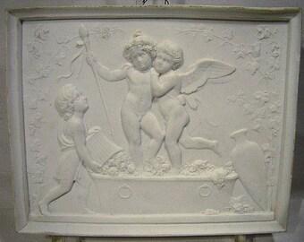 19thC ROYAL COPENHAGEN Bisque Porcelain Plaque CHERUBS 1860
