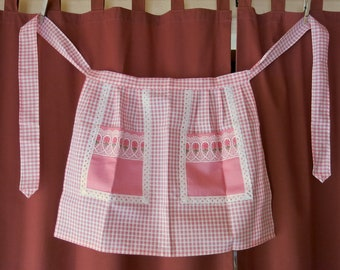 Half Apron vintage pink white checkered with eyelet and embroidered trim made in Europe