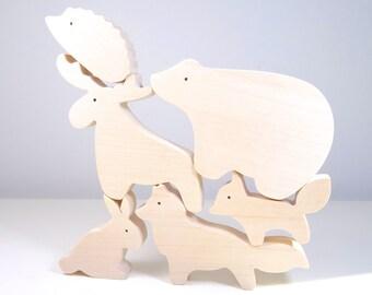 Jouet en bois : animaux de la foret  // Jouet écologique  // Lapin - Loup - Ours - Hérisson - Renard - Elan  // jouets waldorf