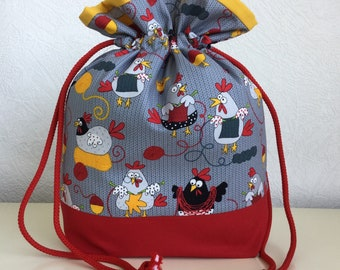 Knitters /Crafters Project Bag - Funky Chickens - colourway one