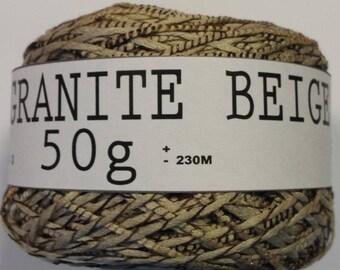 UNMARKED GRANITE BEIGE (56% COTTON) 50G FINGERING WOOL NEW 2.5/3