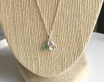 Faceted Rainbow Moonstone and Rare Green Kyanite Teardrop Necklace on Sterling Silver