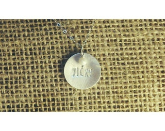Engraved Round Necklace, Personalized Round Necklace, Hand Stamped Round Necklace, Date Necklace