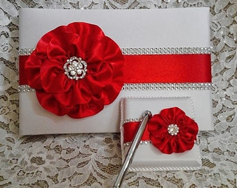 White Satin Wedding Guest Book with Red Flower and Rhinestone Mesh Trim & Pen Set, Bright Red Guestbook