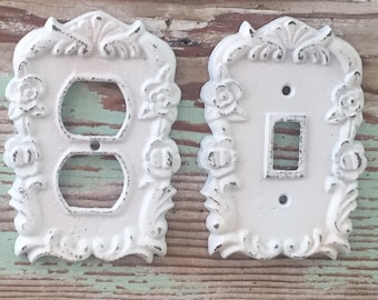 Cast Iron Floral Cover for Light Switch / White / Decorative Outlet Cover /  Shabby Chic / Coastal /Outlet Cover /White Decor