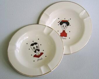 Vintage Dad Mom Ceramic Ashtray Set Trinket Dishes Sica China