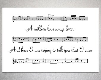Take That - A Million Love Songs - Song Sheet Poster - Unique Art