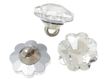 """5 Glass Flower Shank Buttons, 1/2"""" faceted top, silver back but0207"""