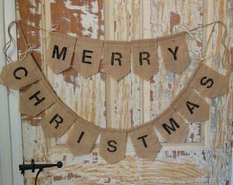 Merry Christmas Banner, Merry Christmas Bunting, Christmas Decor, Christmas Garland, Burlap Banner, Burlap Bunting, Rustic Christmas Garland