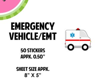 Rescue Ambulance Vehicle Sticker | 50  Kiss-Cut Stickers | CA35 |