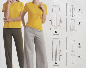 FREE US SHIP Simplicity 0660 3378 Sewing Pattern Hacking Easy Pullon Elastic Waist Pants Taper Wide leg Size 4/26 Waist 22 -41.5 New Uncut