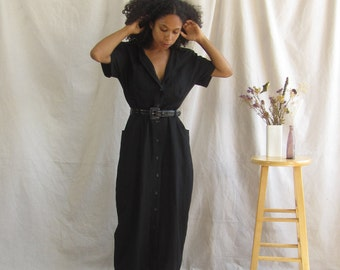 Vintage linen dress Black linen maxi dress 90s minimalist button front dress