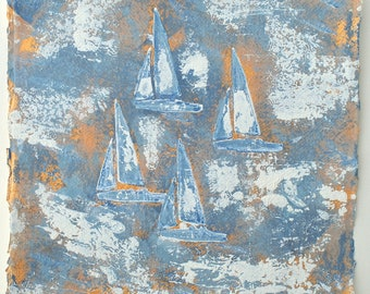 """Original Painting, Boat Painting, """"Memories of summer in blue and gold..."""" by Melanie McDonald Artist from Cornwall UK"""