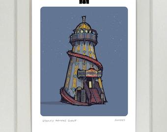 Helter skelter A4 print | Night and Day | Fairground | Vintage | Illustration | Drawing