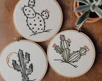 Retro Vibes Cactus Embroidery Hoop Trio Set