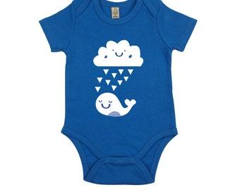 baby gift bodysuit - nature, cloud, whale - newborn gift- baby onesie - new baby gift - screenprinted handmade baby onesie - 3-6 months