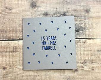 Personalised 15th Anniversary Card. 15 Years, Crystal, Mr & Mrs, Anniversary Gift, Husband Anniversary, Wife, Lasercut, Custom Handmade Card
