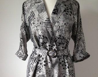 Vintage Geometric Patterned Silver Dress / Silky High Fashion 80s Dress
