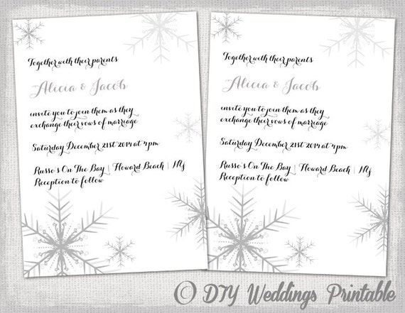 Winter Themed Wedding Invitations: Winter Wedding Invitation Template Snowflakes DIY