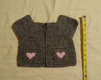 Crocheted Gray Jacket with Hearts on pockets