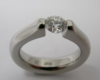Diamond Platinum Tension Ring Hand Made