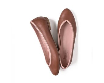 Brown ballet flats leather handmade
