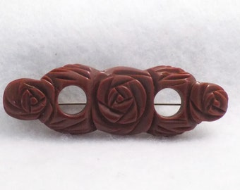 Rose Bakelite Brooch, Vintage Carved Bakelite Pin, Roses Bakelite Brooch, Bakelite Jewelry, Collector Jewelry, Rose Jewelry, BOOK PIECE