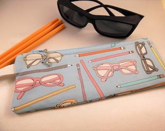 Sunglass Bag Pencil Bag Eyeglass Case Blue Zipper Cosmetic Organizer Bag
