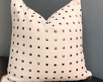 Beige Square Print-Tan Linen Decor Pillow-Platinum Throw Pillow-Tan Designer Throw Pillow-Platinum Decorative Throw Pillow-Neutral Cover