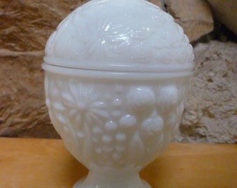 Milk Glass Pedestal Bowl by Avon