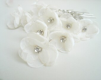 6 Flower Bridal Hair Pins, Small Flower  Wedding Hair Accessories, Crystal  Pearl Flower Hair Pin, Silver U Pin, Bridal Head Piece