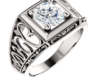 1.25  ct Forever Brilliant Moissanite Solid 14K White Gold Floral Style Vintage  Ring  ST233157